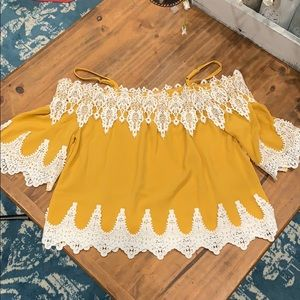 Mustard lace cold shoulder top